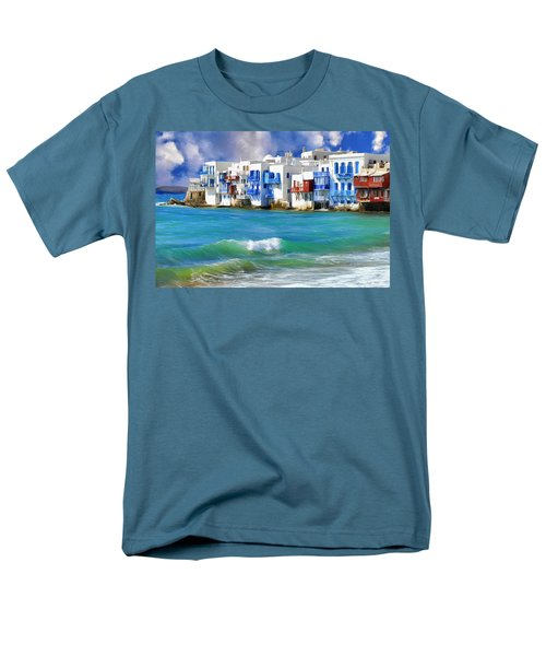 Waterfront At Mykonos Men's T-Shirt  (Regular Fit) by Dominic Piperata
