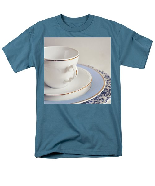 Men's T-Shirt  (Regular Fit) featuring the photograph White China Cup, Saucer And Plates by Lyn Randle