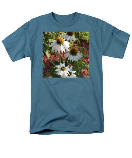 Men's T-Shirt  (Regular Fit) featuring the photograph White Echinacea In Pastel by Suzanne Gaff