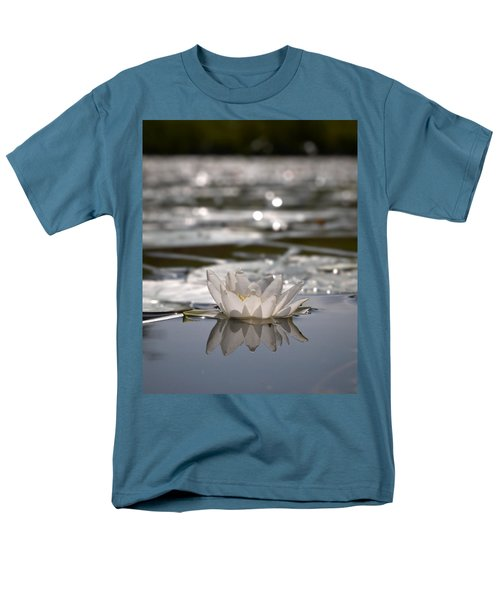 Men's T-Shirt  (Regular Fit) featuring the photograph White Waterlily 3 by Jouko Lehto