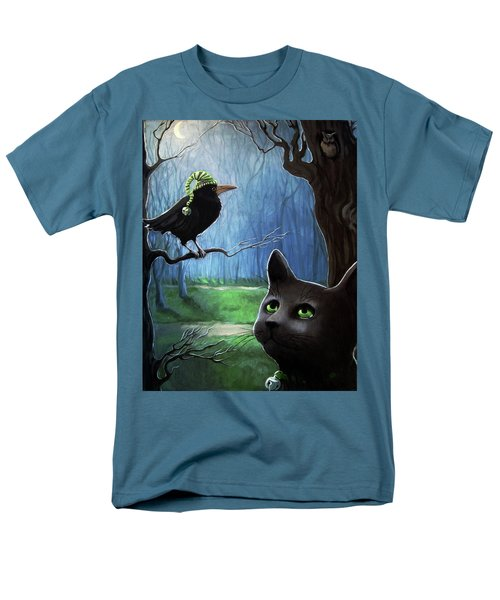 Men's T-Shirt  (Regular Fit) featuring the painting Wit's End - Winter Nightime Forest by Linda Apple