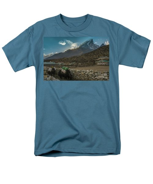 Men's T-Shirt  (Regular Fit) featuring the photograph Yaks Moving Through Dingboche by Mike Reid