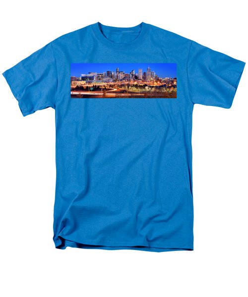 Men's T-Shirt  (Regular Fit) featuring the photograph Denver Skyline At Dusk Evening Color Evening Panorama Broncos Colorado  by Jon Holiday
