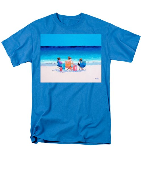 Beach Painting 'girl Friends' By Jan Matson Men's T-Shirt  (Regular Fit) by Jan Matson