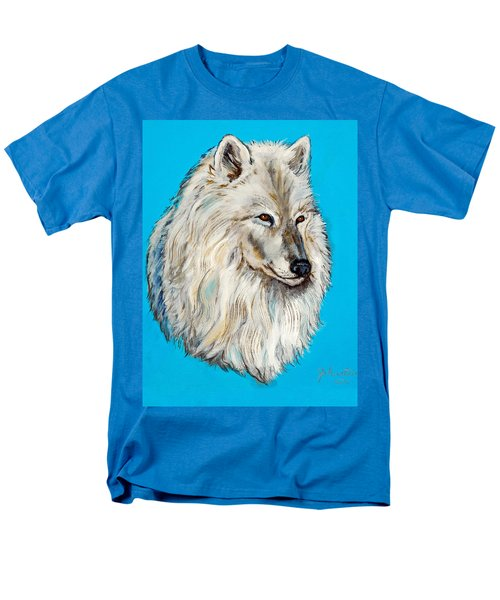 Men's T-Shirt  (Regular Fit) featuring the painting Alaska White Wolf by Bob and Nadine Johnston