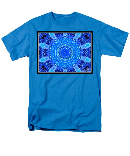 Men's T-Shirt  (Regular Fit) featuring the photograph Blue Hydrangeas Flower Kaleidoscope by Rose Santuci-Sofranko