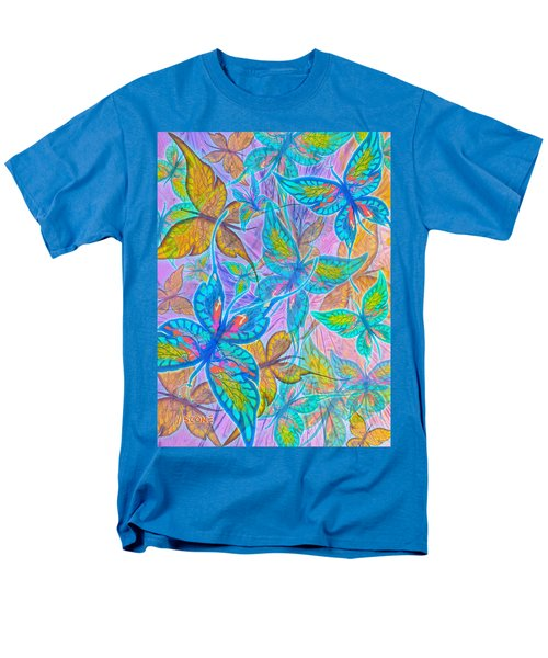 Men's T-Shirt  (Regular Fit) featuring the mixed media Butterflies On Lilac by Teresa Ascone