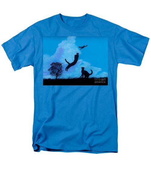 Men's T-Shirt  (Regular Fit) featuring the drawing Cats -  Playing by D Hackett