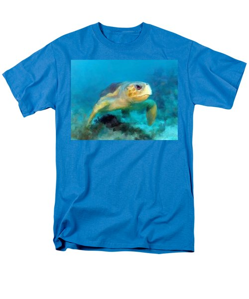 Men's T-Shirt  (Regular Fit) featuring the mixed media Curious Sea Turtle by David  Van Hulst