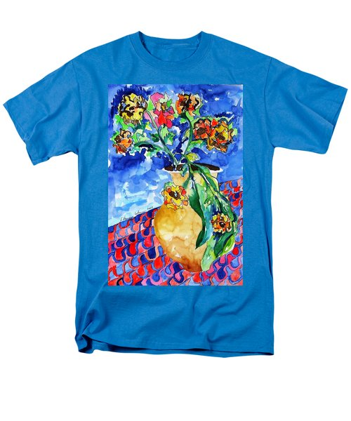 Men's T-Shirt  (Regular Fit) featuring the painting Flip Of Flowers by Esther Newman-Cohen