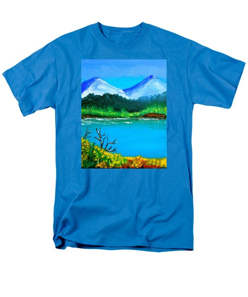 Men's T-Shirt  (Regular Fit) featuring the painting Hills By The Lake by Cyril Maza