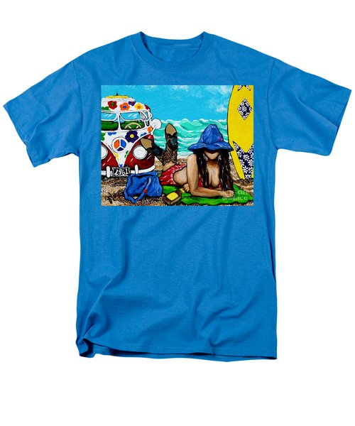 Men's T-Shirt  (Regular Fit) featuring the painting J. C. Beaching It In 1961 by Jackie Carpenter