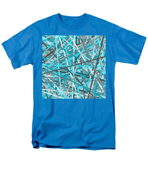 Link - Turquoise And Gray Abstract Men's T-Shirt  (Regular Fit) by Lourry Legarde