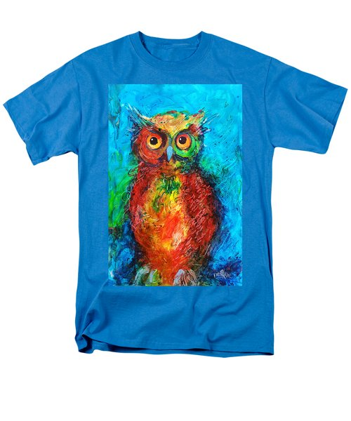 Men's T-Shirt  (Regular Fit) featuring the painting Owl In The Night by Faruk Koksal