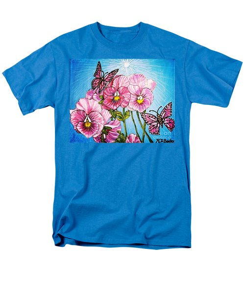 Pansy Pinwheels And The Magical Butterflies With Blue Skies Men's T-Shirt  (Regular Fit) by Kimberlee Baxter