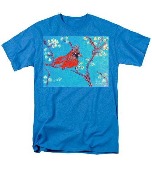 Red Cardinal Spring Men's T-Shirt  (Regular Fit) by Richard W Linford