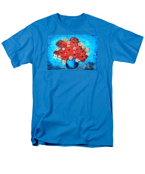 Red Poppies And White Daisies Men's T-Shirt  (Regular Fit) by Ramona Matei