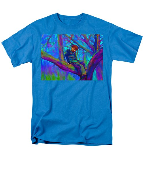 Small Boy In Large Tree Men's T-Shirt  (Regular Fit) by Hidden  Mountain