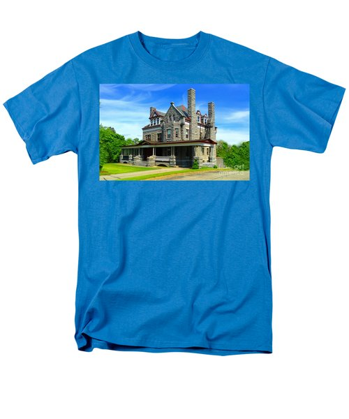Men's T-Shirt  (Regular Fit) featuring the photograph Stone Mansion Blue Sky by Becky Lupe