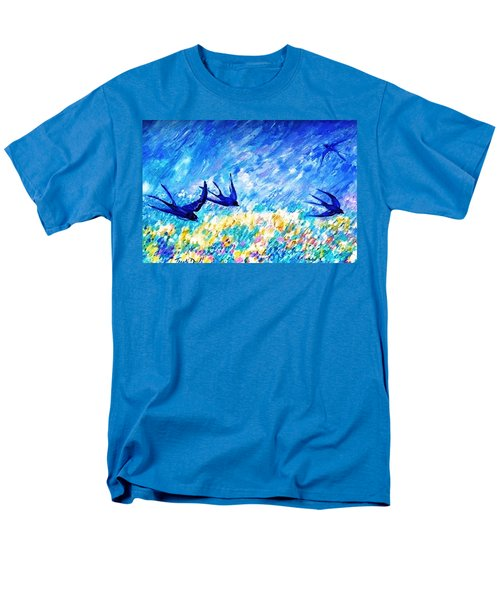 Men's T-Shirt  (Regular Fit) featuring the painting Swallows In Summer by Trudi Doyle