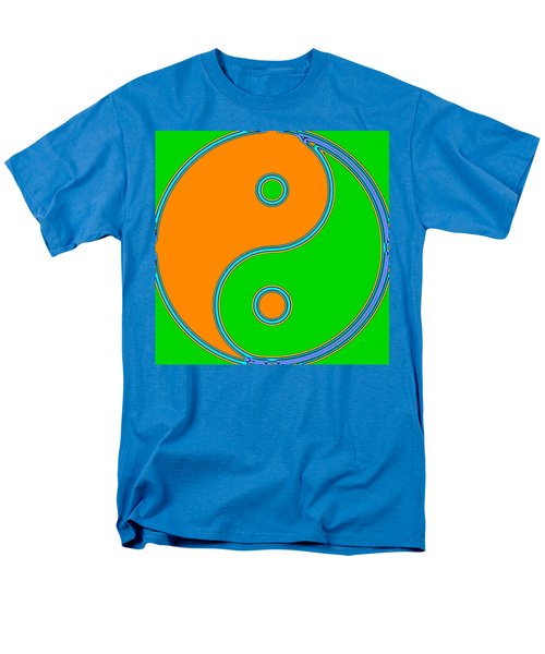 Yin Yang Orange Green Pop Art Men's T-Shirt  (Regular Fit) by Eti Reid