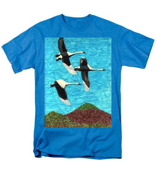 Men's T-Shirt  (Regular Fit) featuring the drawing Swans In Flight by Wendy McKennon
