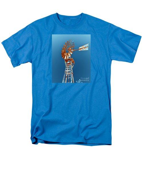 Windmill Rust Orange With Blue Sky Men's T-Shirt  (Regular Fit) by Rebecca Margraf