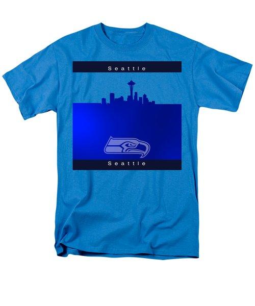 Seattle Seahawks Skyline Men's T-Shirt  (Regular Fit) by Alberto RuiZ