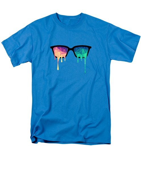 Psychedelic Nerd Glasses With Melting Lsd Trippy Color Triangles Men's T-Shirt  (Regular Fit)
