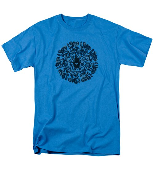 Black And White Hamsa Mandala- Art By Linda Woods Men's T-Shirt  (Regular Fit) by Linda Woods