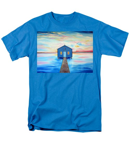 Blue Boat Shed By The Swan River Perth Men's T-Shirt  (Regular Fit)