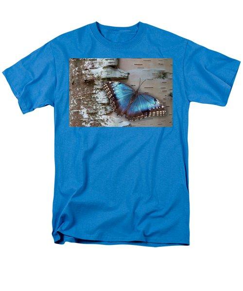 Blue Morpho Butterfly On White Birch Bark Men's T-Shirt  (Regular Fit) by Patti Deters