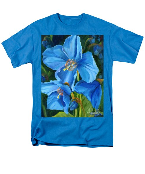 Men's T-Shirt  (Regular Fit) featuring the painting Blue Poppy by Renate Nadi Wesley