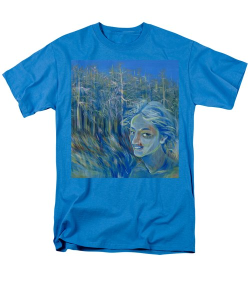Men's T-Shirt  (Regular Fit) featuring the painting Blue Spring by Anna  Duyunova