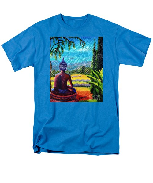 Buddha Atop The Lavender Farm Men's T-Shirt  (Regular Fit) by Janet McDonald