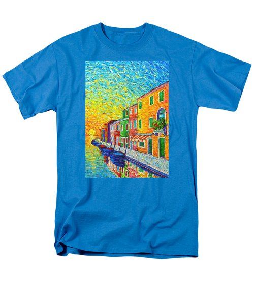 Colorful Burano Sunrise - Venice - Italy - Palette Knife Oil Painting By Ana Maria Edulescu Men's T-Shirt  (Regular Fit) by Ana Maria Edulescu