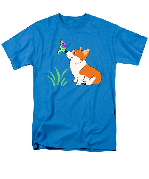 Corgi With Butterfly T-shirt Men's T-Shirt  (Regular Fit) by Kathy Kelly