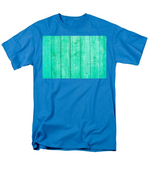 Men's T-Shirt  (Regular Fit) featuring the photograph Fading Aqua Paint On Wood by John Williams