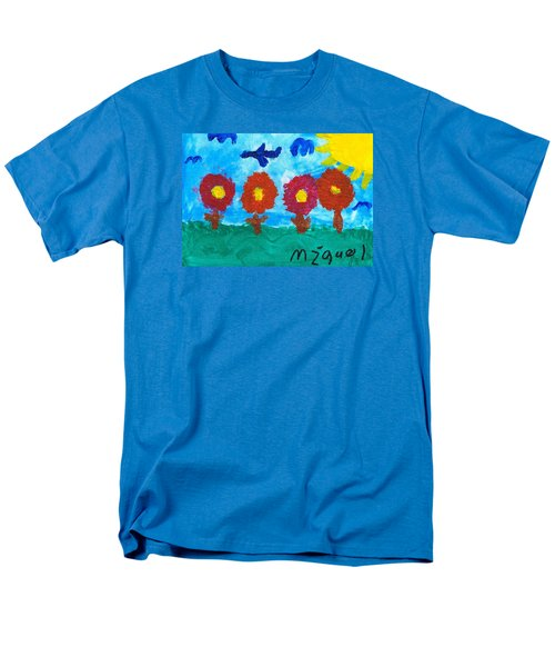 Men's T-Shirt  (Regular Fit) featuring the painting Flowers And Airplane by Artists With Autism Inc