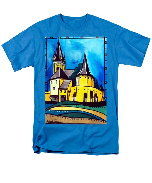 Fortified Medieval Church In Transylvania By Dora Hathazi Mendes Men's T-Shirt  (Regular Fit) by Dora Hathazi Mendes