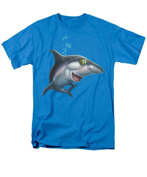 friendly Shark Cartoony cartoon under sea ocean underwater scene art print blue grey  Men's T-Shirt  (Regular Fit) by Walt Curlee