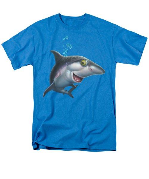friendly Shark Cartoony cartoon under sea ocean underwater scene art print blue grey  Men's T-Shirt  (Regular Fit)