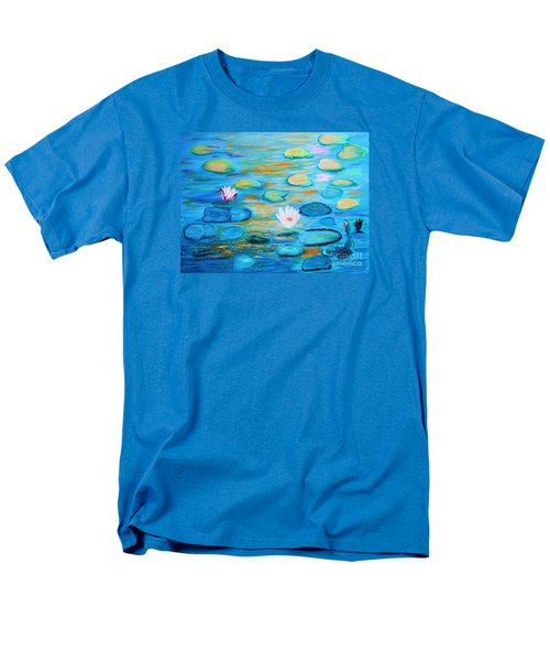 Men's T-Shirt  (Regular Fit) featuring the painting Graceful Pond From The Water Series by Donna Dixon