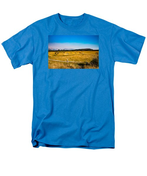 Men's T-Shirt  (Regular Fit) featuring the photograph Grazing Horses by Cathy Donohoue