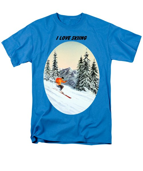 Men's T-Shirt  (Regular Fit) featuring the painting I Love Skiing  by Bill Holkham