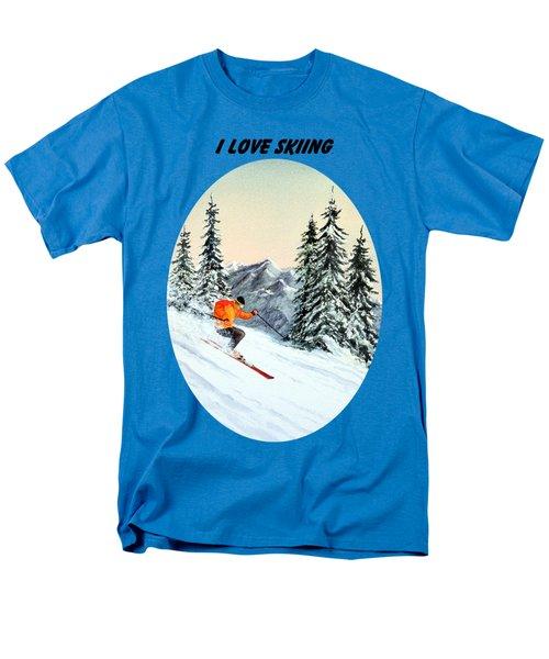 I Love Skiing  Men's T-Shirt  (Regular Fit) by Bill Holkham