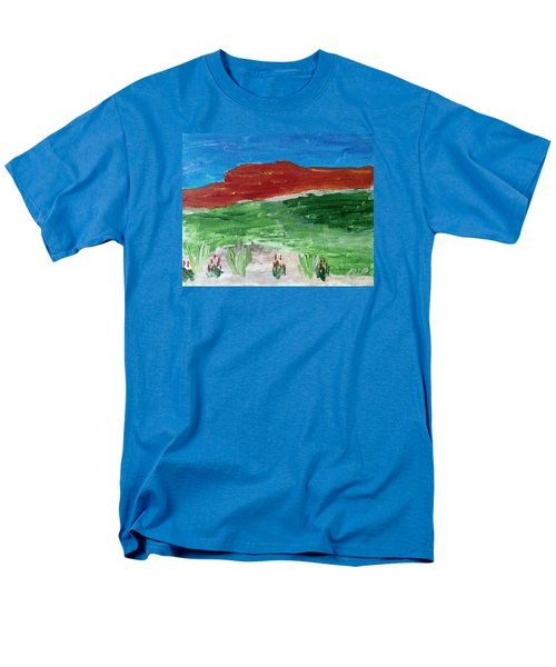 Men's T-Shirt  (Regular Fit) featuring the painting Indian Paintbrush Under A Midday Sun by Brenda Pressnall