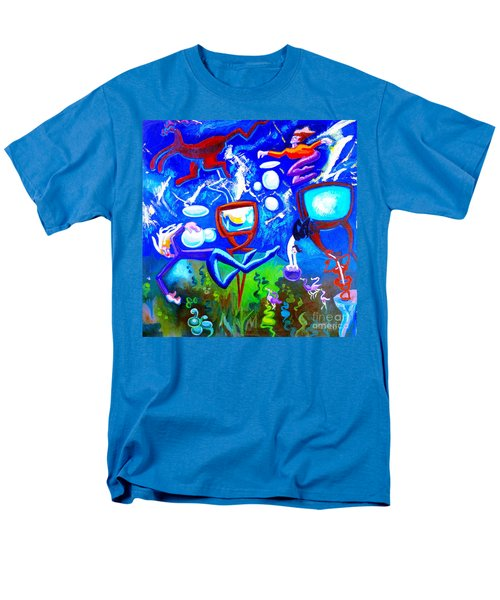 Men's T-Shirt  (Regular Fit) featuring the painting Jumping Through Tv Land by Genevieve Esson