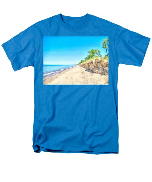 Men's T-Shirt  (Regular Fit) featuring the painting Lake Huron Shoreline by Maciek Froncisz