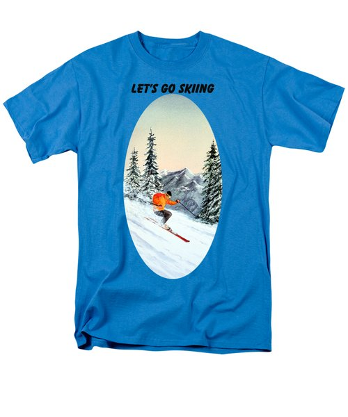 Men's T-Shirt  (Regular Fit) featuring the painting Let's Go Skiing  by Bill Holkham